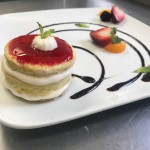 Panna cotta with a strawberry coulis
